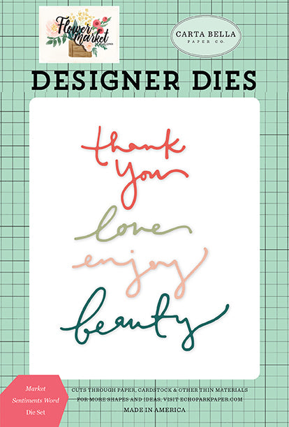 Carta Bella Designer Dies - Flower Market - Market Sentiments Word Die Set