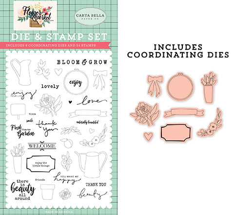 Carta Bella Die and Stamp Set - Flower Market - Beauty All Around Set