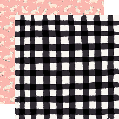 Carta Bella Papers - Our House - Black Gingham - 2 Sheets