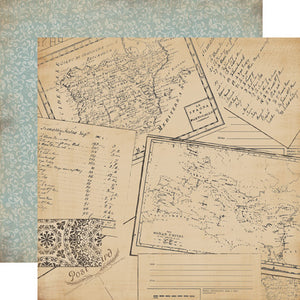 Carta Bella Papers - Old World Travel - Postcards - 2 Sheets