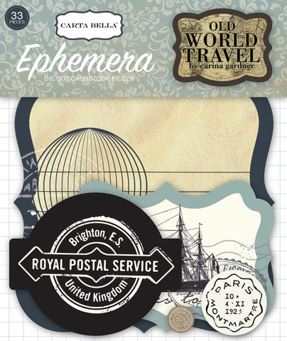 Carta Bella Ephemera Die-Cuts - Old World Travel