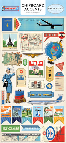 Carta Bella Chipboard - Passport - Accents