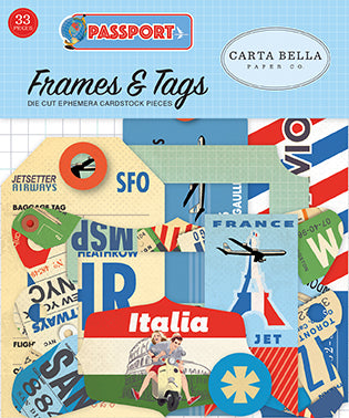 Carta Bella Frames & Tags Die-Cuts - Passport