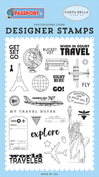 Carta Bella Clear Stamp Set - Passport - Get Set Go