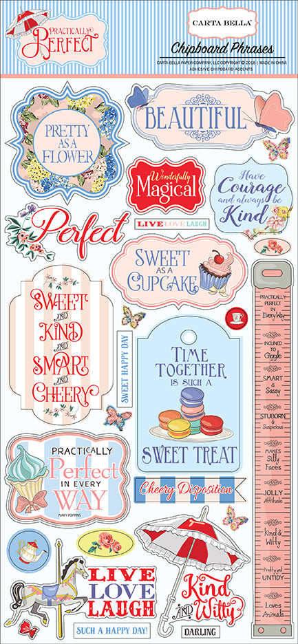 Carta Bella Chipboard - Practically Perfect - Phrases