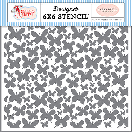 Carta Bella 6x6 Stencil - Practically Perfect - Butterfly Garden