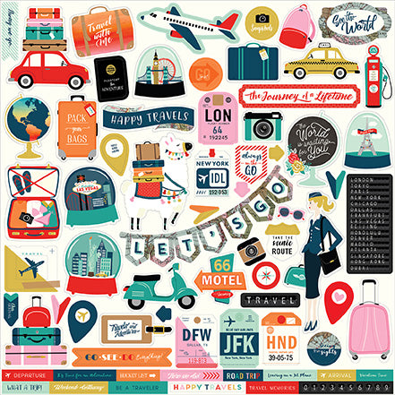 Carta Bella 12x12 Cardstock Stickers - Pack Your Bags - Elements