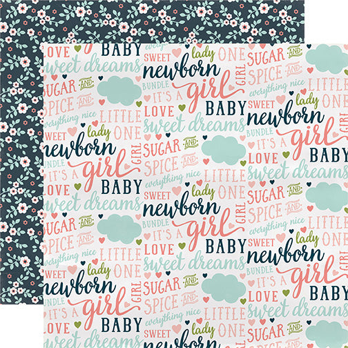 Carta Bella Papers - Rock-a-Bye Baby - Girl - Everything Nice - 2 Sheets