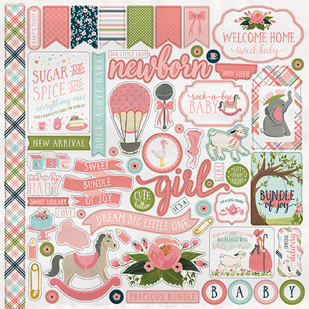 Carta Bella 12x12 Cardstock Stickers - Rock-a-Bye Baby - Girl - Elements