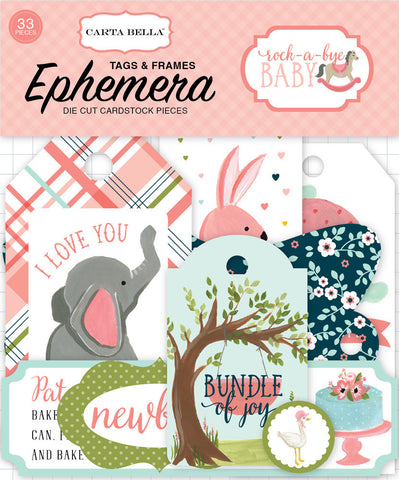 Carta Bella Ephemera Die-Cuts - Rock-A-Bye Baby - Tags & Frames - Girl
