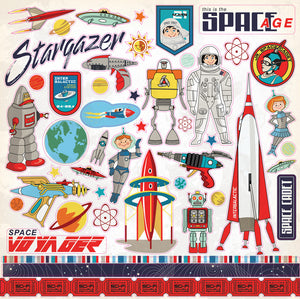 Carta Bella 12x12 Cardstock Stickers - Space Academy - Elements