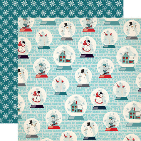 Carta Bella Papers - Snow Fun - Snow Globes - 2 Sheets