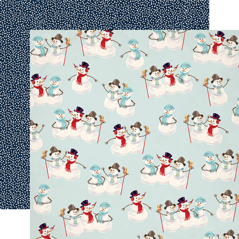 Carta Bella Papers - Snow Fun - Sweet Snowmen - 2 Sheets