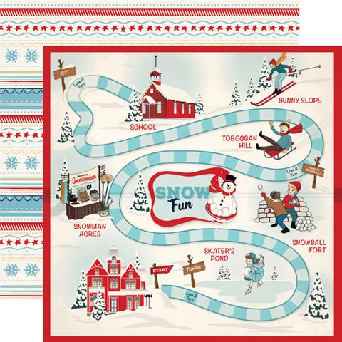 Carta Bella Papers - Snow Fun - Snow Game - 2 Sheets