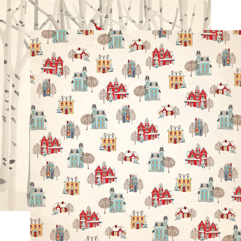 Carta Bella Papers - Snow Fun - Winter Cottages - 2 Sheets
