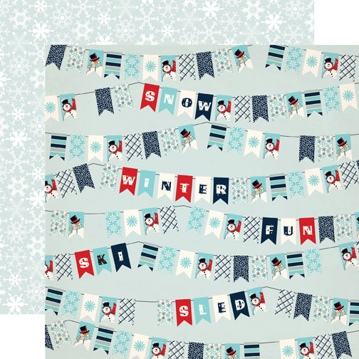 Carta Bella Papers - Snow Fun - Winter Banners - 2 Sheets