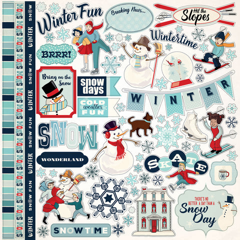 Carta Bella 12x12 Cardstock Stickers - Snow Fun - Elements