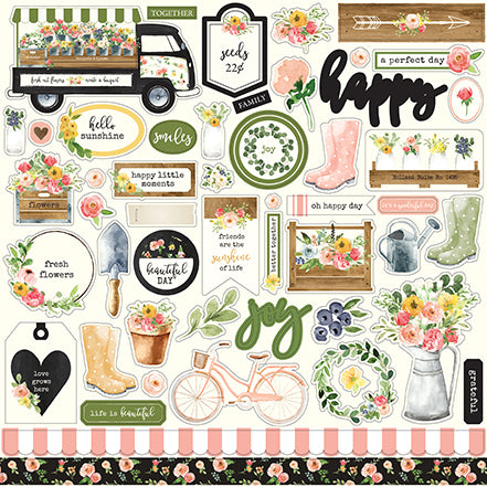 Carta Bella 12x12 Cardstock Stickers - Spring Market - Elements