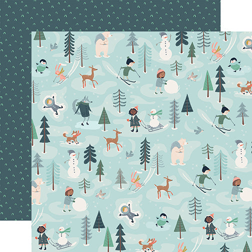 Carta Bella Papers - Snow Much Fun - Fun With Friends - 2 Sheets