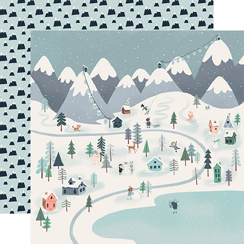 Carta Bella Papers - Snow Much Fun - Winter Town - 2 Sheets