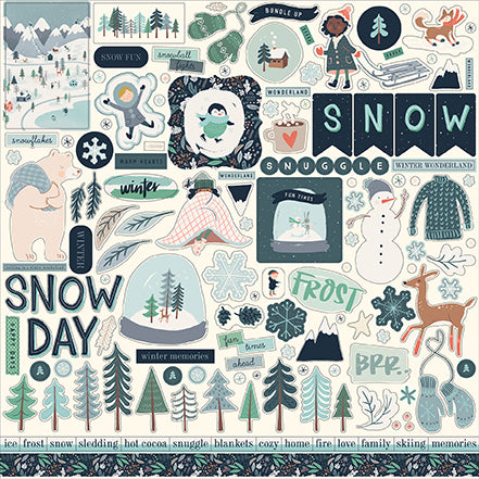Carta Bella 12x12 Cardstock Stickers - Snow Much Fun - Elements