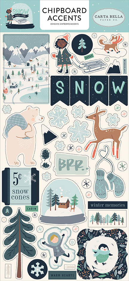 Carta Bella Chipboard - Snow Much Fun - Accents