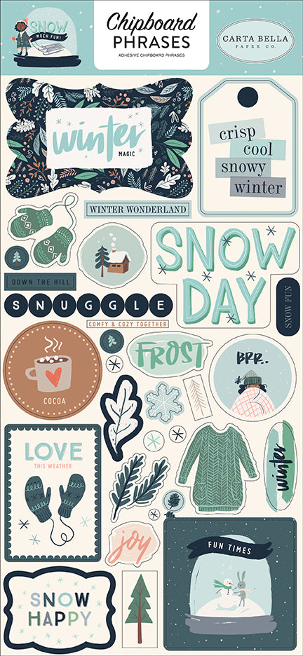 Carta Bella Chipboard - Snow Much Fun - Phrases