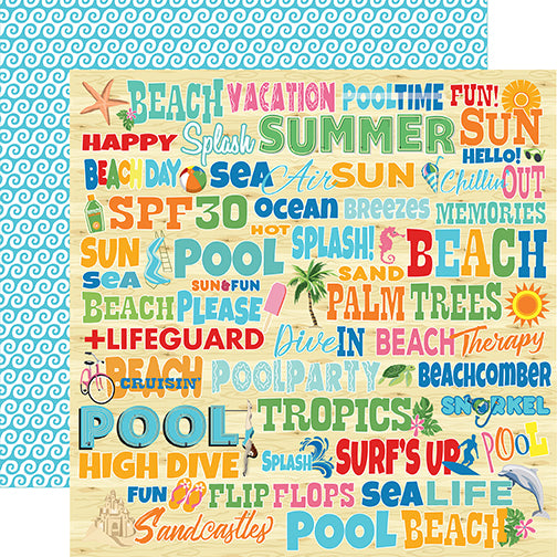 Carta Bella Papers - Summer Splash - Splash Words - 2 Sheets