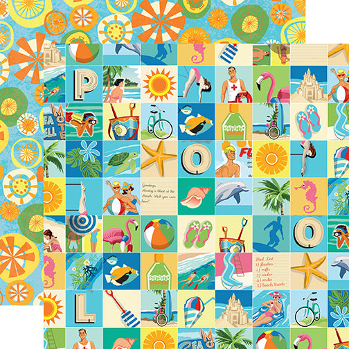 Carta Bella Papers - Summer Splash - Beach Squares - 2 Sheets