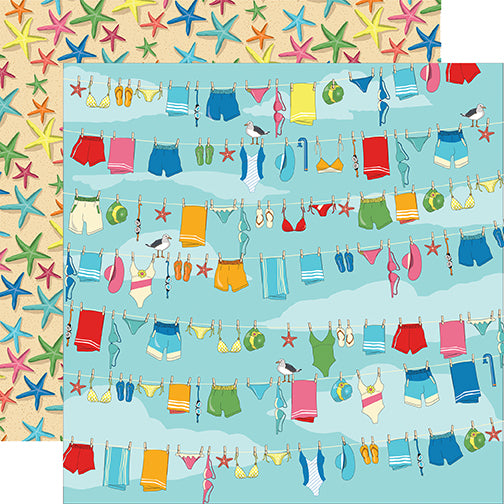 Carta Bella Papers - Summer Splash - Beach Day - 2 Sheets