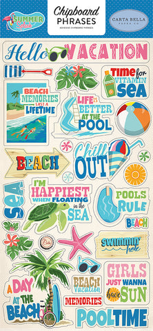 Carta Bella Chipboard - Summer Spash - Phrases