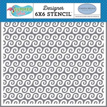 Carta Bella 6x6 Stencil - Summer Splash - Beach Waves