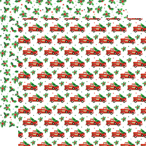Carta Bella Papers - Santa's Workshop - Tree Haul - 2 Sheets