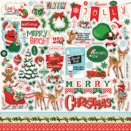 Carta Bella 12x12 Cardstock Stickers - Santa's Workshop - Elements