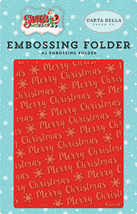 Carta Bella Embossing Folder - Santa's Workshop - Merry Christmas Snowflake
