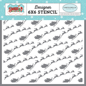 Carta Bella 6x6 Stencil - Santa's Workshop - Santa's Sleigh