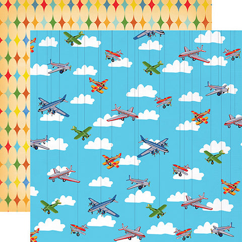 Carta Bella Papers - Toy Box - Airplanes Soaring - 2 Sheets