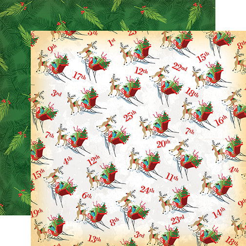 Carta Bella Papers - A Very Merry Christmas - Christmas Countdown - 2 Sheets