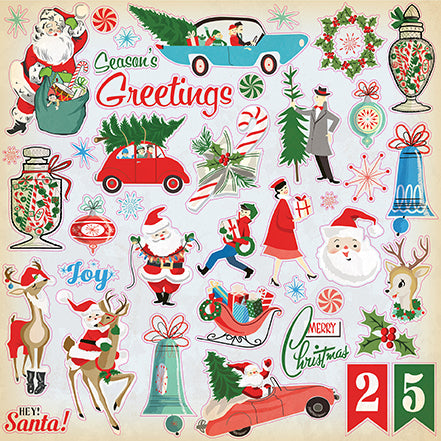 Carta Bella 12x12 Cardstock Stickers - A Very Merry Christmas - Elements