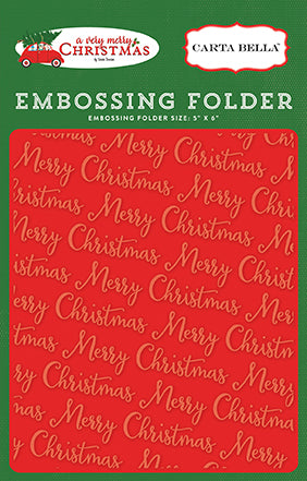 Carta Bella Embossing Folder - A Very Merry Christmas - Merry Christmas
