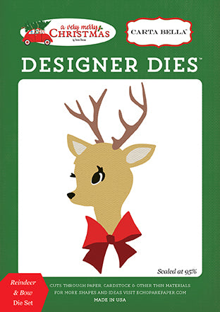 Carta Bella Designer Dies - A Very Merry Christmas - Reindeer & Bow Set