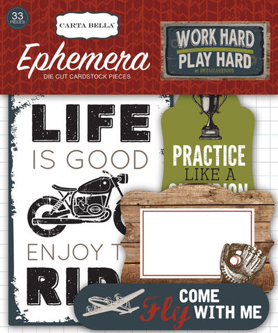 Carta Bella Ephemera Die-Cuts - Work Hard, Play Hard