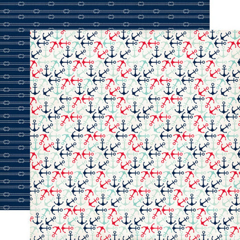 Carta Bella Papers - Ahoy There - Anchors Away - 2 Sheets