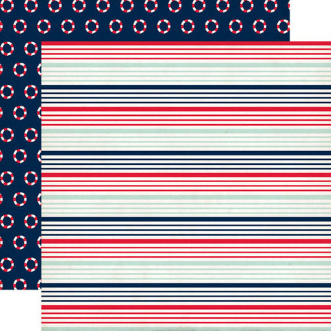 Carta Bella Papers - Ahoy There - Nautical Stripe - 2 Sheets