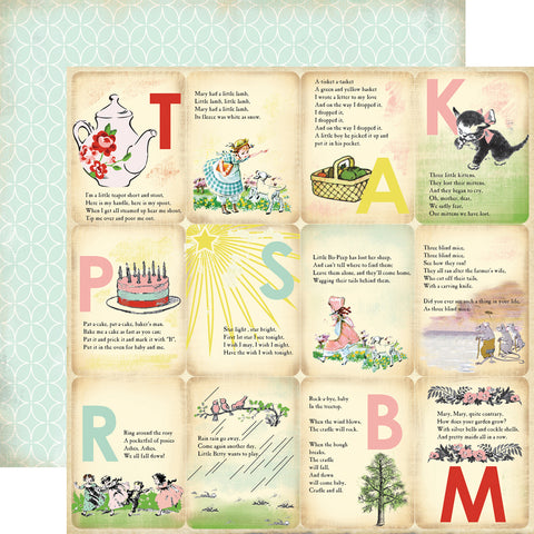 Carta Bella Papers - Baby Mine Girl - Girl Nursery Rhymes - 2 Sheets