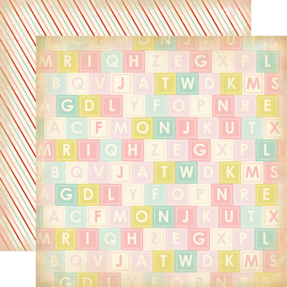 Carta Bella Papers - Baby Mine Girl - Alphabet Soup - 2 Sheets