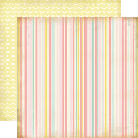 Carta Bella Papers - Baby Mine Girl - Baby Girl Stripe - 2 Sheets
