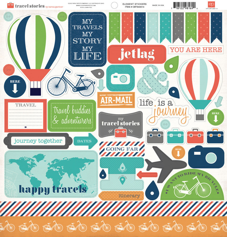 Carta Bella 12x12 Cardstock Stickers - Travel Stories - Elements