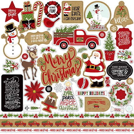 Echo Park 12x12 Cardstock Stickers - Celebrate Christmas - Elements