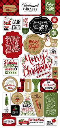 Echo Park Chipboard - Celebrate Christmas - Phrases